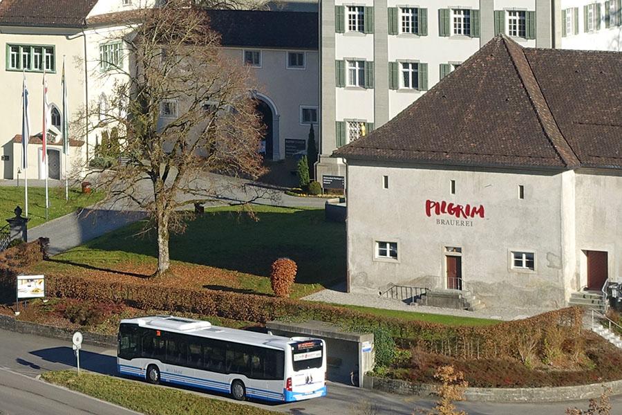 mit dem Bus gleich vor die Klosterbrauerei