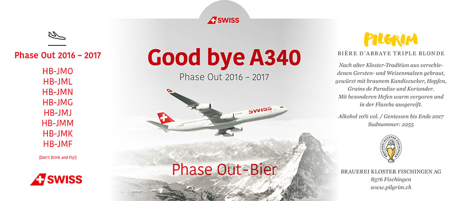 PILGRIM Etikette Swiss Good bye A340