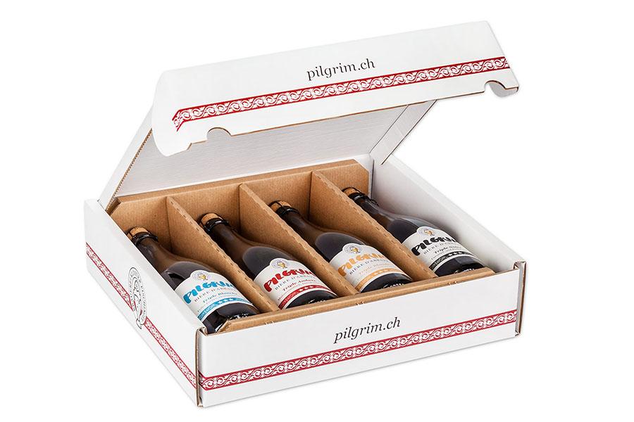 Geschenkschachtel mit 4 x 75cl PILGRIM Bière d'Abbaye Triple